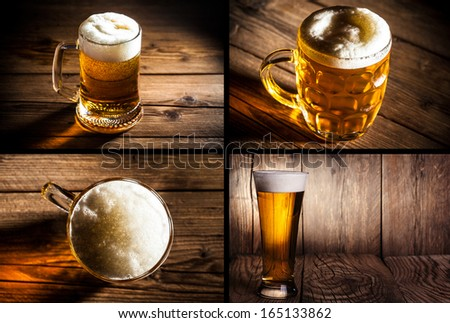 collage of four photos illustrating beer - stock photo