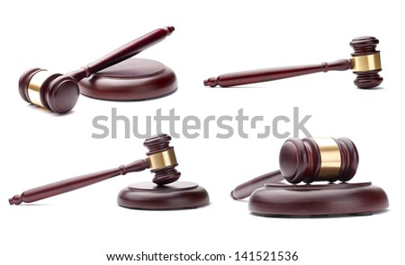 collage of four pictures, brown gavel against a white background - stock photo