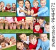 Collage of four restful kids looking at camera - stock photo