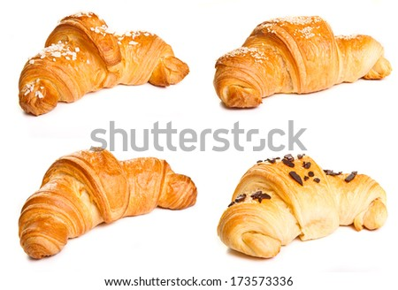 Collage of four types of croissants - stock photo