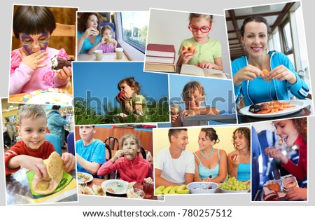 Collage of fourteen eating people (six models), children with ice cream, fast food, fruits