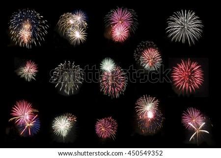 Collage of Fourteen High Definition Fireworks on Pitch Black Night Sky - stock photo