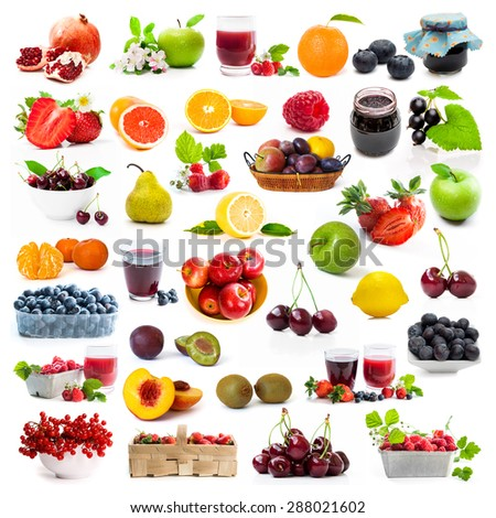 collage of fresh berries and fruits on white background - stock photo
