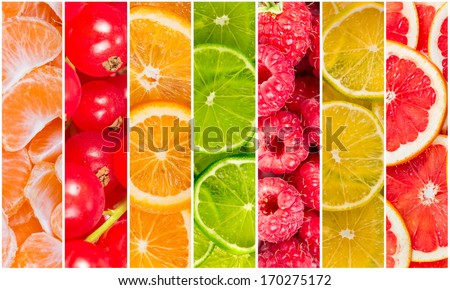 Collage of fresh summer fruit in the form of vertical stripes - stock photo
