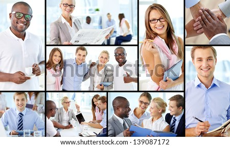 Collage of friendly businesspeople at work - stock photo
