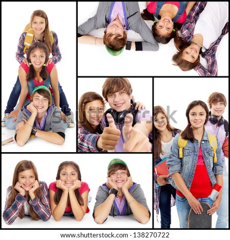 Collage of friendly teens in casual clothes looking at camera - stock photo