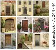collage of front doors, Tuscany - stock photo