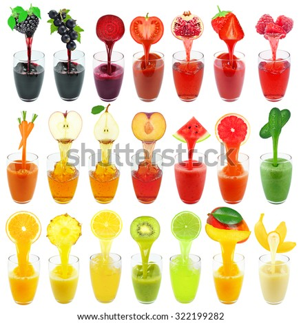 collage of fruit and vegetable juice isolated on white - stock photo