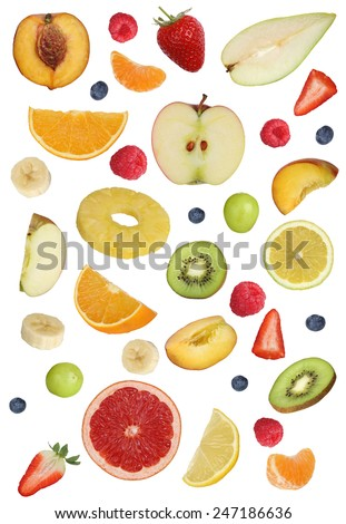 Collage of fruits like apples fruit, oranges, kiwi, peach, banana and strawberry - stock photo