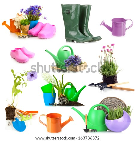 Collage of gardening equipment isolated on white - stock photo