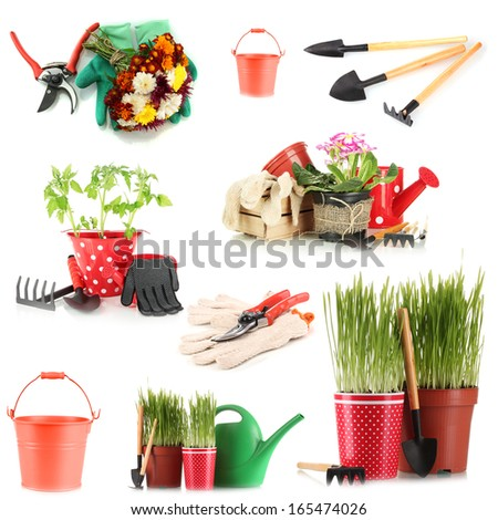 Collage of gardening equipment isolated on white