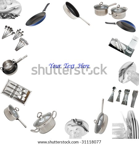 Collage of glasses, plates, dishware, utensil,pans. Isolated - stock photo