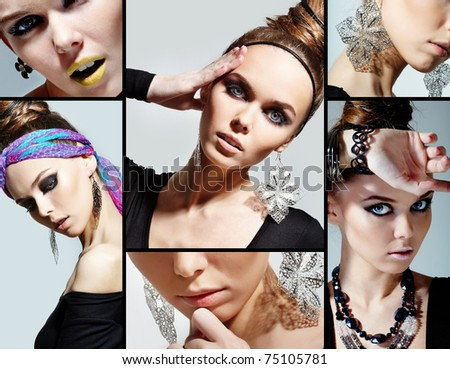 Collage of gorgeous woman looking at camera - stock photo
