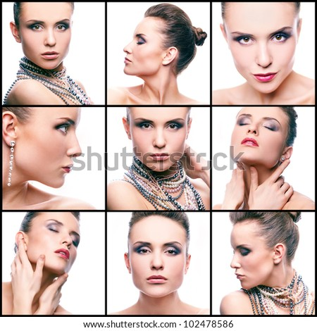 Collage of gorgeous woman with pearl beads and glamorous makeup looking at camera - stock photo