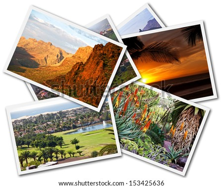 Collage of Gran Canaria Canary Islands photos isolated on white background - stock photo