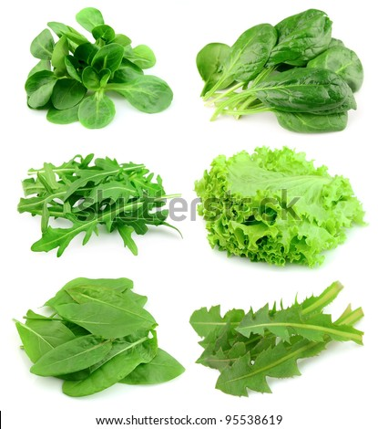 Collage of green and juice salad on white background. - stock photo