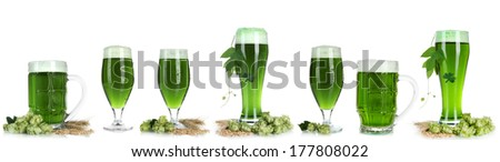 Collage of green beer, isolated on white. St. Patrick's Day - stock photo