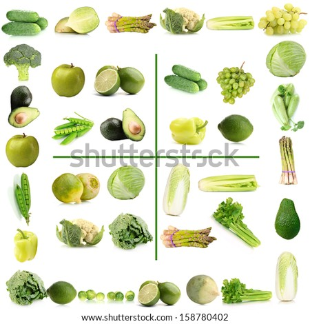 Collage of green vegetables and fruits - stock photo