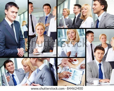 Collage of group of business people working in office