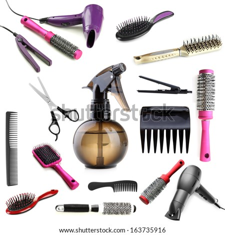 Collage of hairdressing tools isolated on white - stock photo