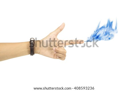 Collage of hands shot blue smoke on white background. - stock photo