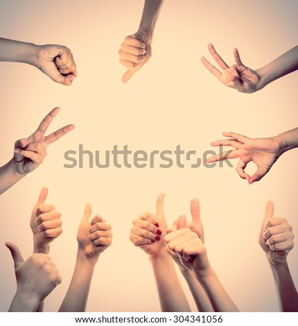 Collage of hands showing different gestures on light background - stock photo