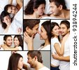 Collage of happy amorous couple together - stock photo