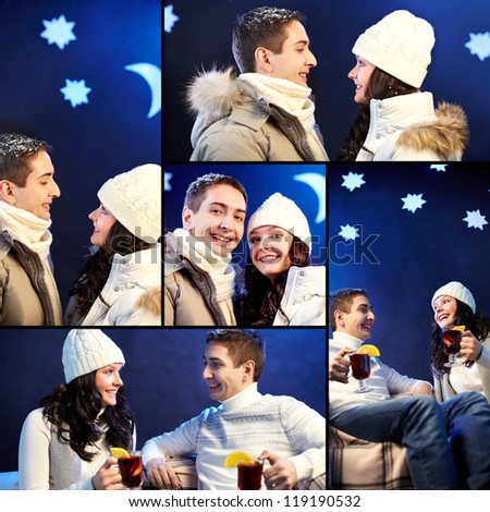 Collage of happy couple in winterwear spending evening together - stock photo