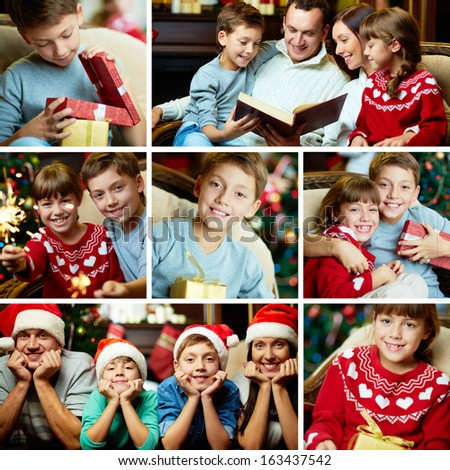 Collage of happy family on Christmas evening