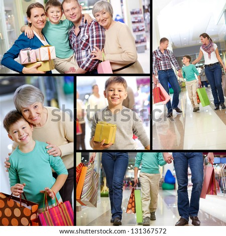 Collage of happy family shopping - stock photo