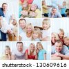 Collage of happy family with cute twins resting at home - stock photo