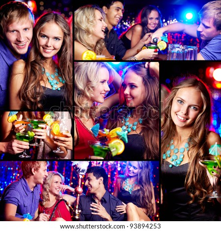 Collage of happy friends having fun at party