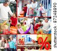 Collage of happy grandparents and grandchildren during and after shopping - stock photo