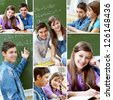 Collage of happy guy and girl studying in school - stock photo