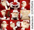 Collage of happy Santa Claus wishing you merry xmas - stock photo