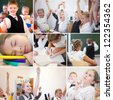 Collage of happy schoolchildren while lesson in school - stock photo