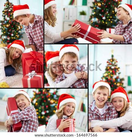 Collage of happy siblings in Santa caps on Christmas evening