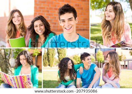 Collage of happy students in school campus - stock photo