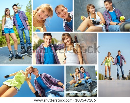 Collage of happy teens roller skating in park - stock photo