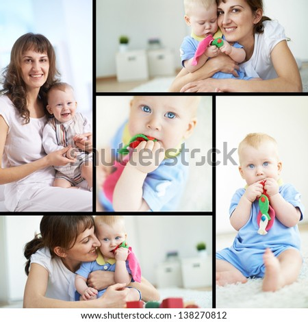 Collage of happy woman and her small son - stock photo