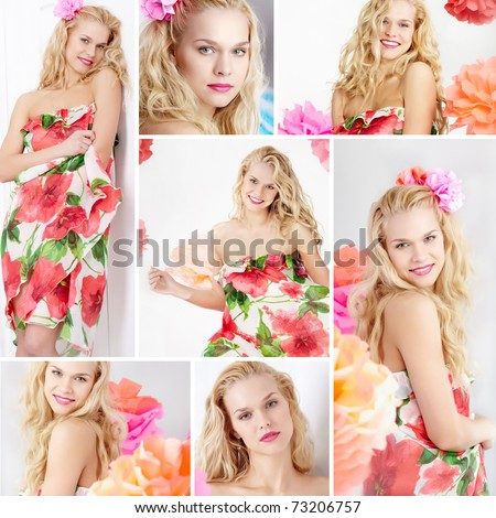 Collage of happy woman in smart dress looking at camera - stock photo