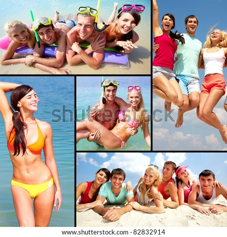 Collage of happy young adults having rest on vacation - stock photo