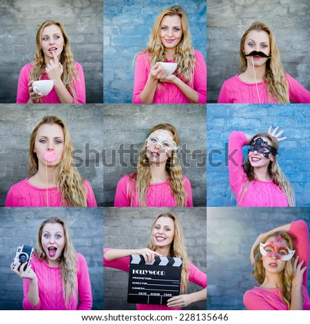 Collage of happy young blond woman with retro photo camera and other artistic props over brick wall copy space background - stock photo
