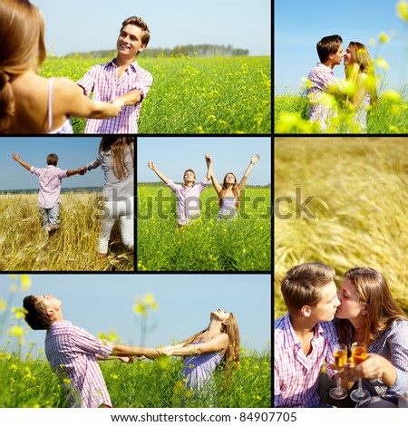 Collage of happy young couple in flower field - stock photo