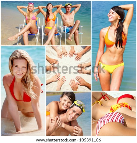 Collage of happy young people spending summer vacation at the seaside - stock photo