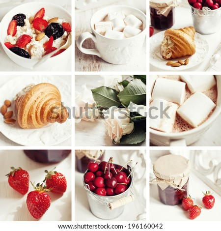 collage of Healthy breakfast with cottage cheese, cacao, cherry and croissant - stock photo