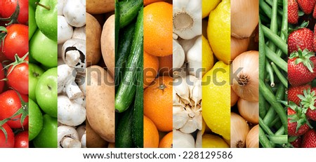 Collage of healthy food background raw fresh fruits and vegetables - stock photo