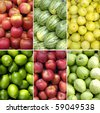 collage of healthy fruits - stock photo