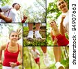 Collage of healthy young female and man running in park - stock photo