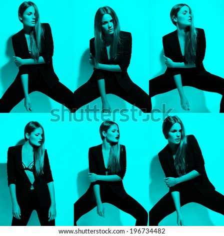 collage of High fashion look.glamor colorful portrait of beautiful sexy stylish Caucasian young woman model in black cloth on blue background - stock photo
